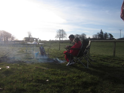 Campfire cooking at Nettwood Farm