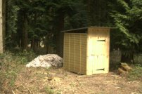 Composting toilet in the wood.