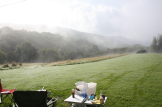 Morning mist rising from the valley.